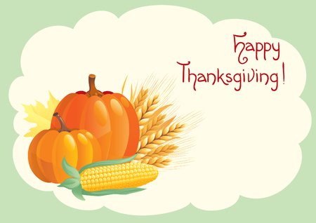 happy thanksgiving: Happy thanksgiving! Vector card  with vegetables and inscription Happy thanksgiving