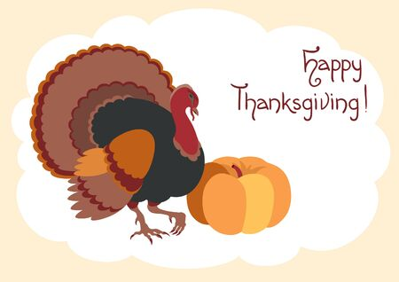 happy thanksgiving: Happy thanksgiving! Vector card  with  Turkey, pumpkin  at flat style