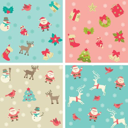 retro christmas: Christmas background Vector seamless patterns with Santa and Christmas  decorations at retro style.