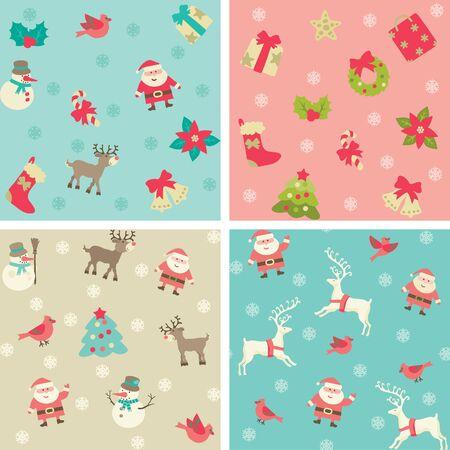 pajaro caricatura: Fondo de Navidad del vector patrones sin fisuras con Santa y Navidad decoraciones en estilo retro. Vectores