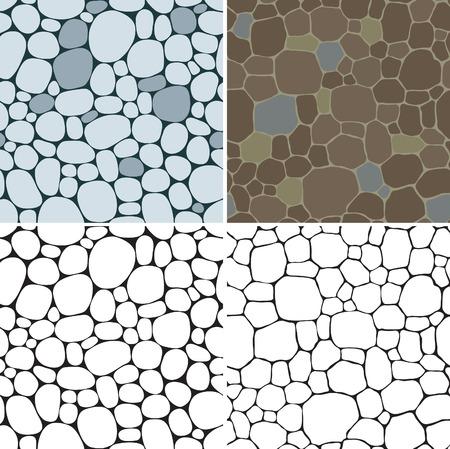 Stenen naadloze patronen. Vector set van naadloze achtergronden met beige, grijs en bruin gladde kiezelsteen