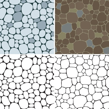 Stones seamless patterns. Vector set of seamless backgrounds with beige, gray, and brown smooth pebble