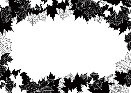 black borders: Autumn maple leaves. Vector border  with many maple leaves at black and white  style