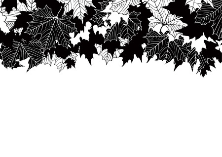 fall leaf: Autumn maple leaves. Vector background  with many maple leaves at retro style