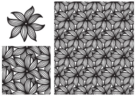 nature backgrounds: Floral pattern background. Vector ornate seamless  pattern with flowers  on white background Illustration
