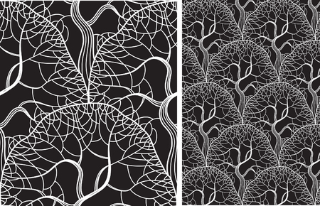 tree leaves: Wood pattern background. Vector ornate seamless  pattern with trees  on black background