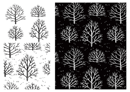 vector element: Bare treespattern. Vector ornate seamless  pattern with trees  on white background