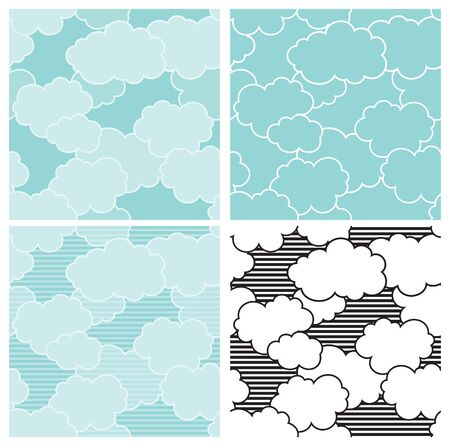 cloudy sky: Cloudy sky. Vector seamless patterns  of blue sky with clouds Illustration