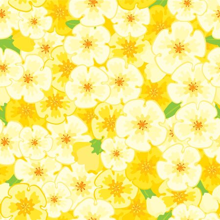 Spring  floral background. Vector seamless  pattern with many yellow spring flowers