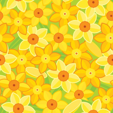 daffodil: Spring  floral background. Vector seamless  pattern with many yellow spring daffodils Illustration