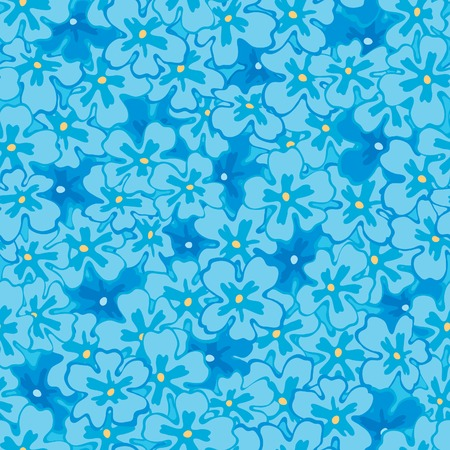 primula: Spring  floral background. Vector seamless  pattern with many blue spring flowers