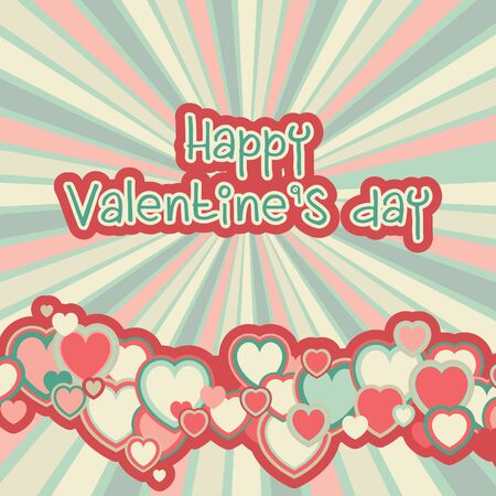 retro color: Valentines day background. Vector red background with many color hearts and text at retro style