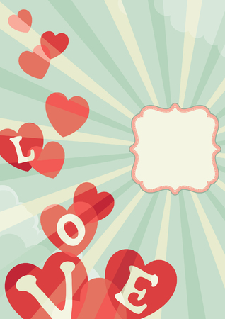Valentines day. Vector illustration of heats on abstract background with frame, clouds and sun beams Illustration