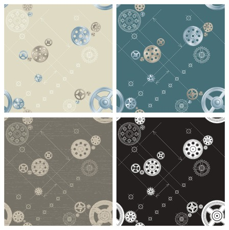 pinion: Pinion seamless patterns. Vector set of pinions backgrounds on engineering drawing