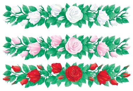 ramo de flores: Conjunto de guirnaldas de rosas. Tres banderas del vector con las rosas blancas de color rojo, rosa y ..