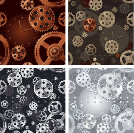 pinion: Pinions and clock. Four vector seamless background of pattern with  pinions and clock.  File includes high res jpg, eps 8.