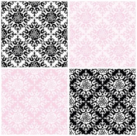 rosa negra: Rosas de fondo transparente. Los vectores de color patrones sin fisuras con rosas sobre fondo blanco, negro y rosa para la tarjeta de San Valentín. Vectores