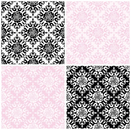 pink floral: Roses seamless background . Vector color seamless patterns with  roses on white, black and pink background for valentines card.