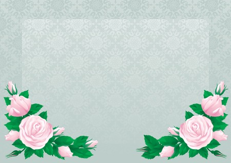gray flower: Retro roses background. Border with  many pink roses on abstract background