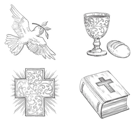 Icon set for easter. Vector of Dove with olive branch, Religious cross, Bread,  gold Chalice with Wine and  Bible  at doddle style