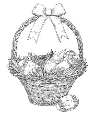 manejar: canasta de Pascua aislado en blanco backgroung. Cesta con los huevos de Pascua y césped en el estilo de juego de niños Vectores