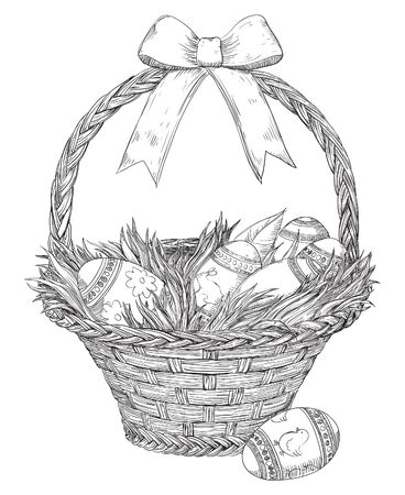handles: Easter basket isolated on white backgroung. Basket with  Easter eggs and  grass  at doddle style