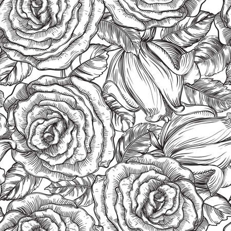white roses: Vintage floral backgrounds. Vector ornate seamless  patterns with roses and leaves at engraving style Illustration