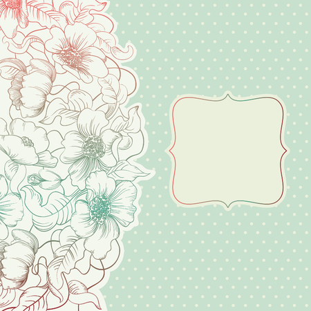 free background: Vintage invitation card. Vector banners with Hand drawing   flowers andl frame at retro style Illustration