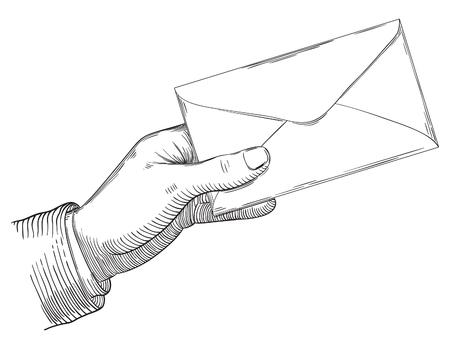 인간의 손에 편지를 들고입니다. 레트로 조각 스타일에서 벡터 배경입니다.