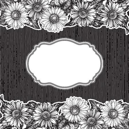 floral border: Vintage border. Vector floral  background  at old engraving style.