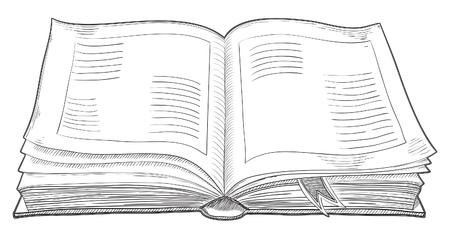 Abra el libro retro. Vector de aislados viejo libro en el estilo de grabado.