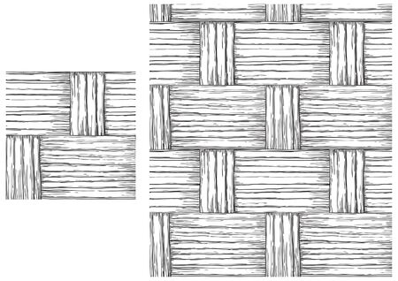 Black and white  pattern of basketry . Vector seamless backgrounds with patterns of basketry of Wickers