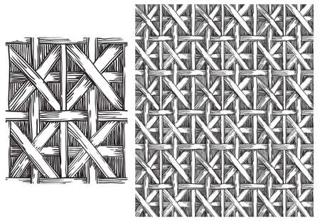 basketry: Black and white  pattern of basketry . Vector seamless backgrounds with patterns of basketry of Wickers