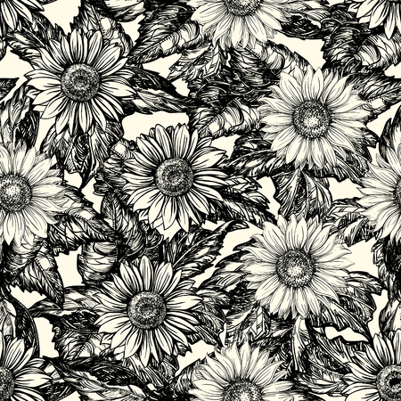 sunflower drawing: Vintage floral background. Vector ornate seamless  pattern with Sunflowers at engraving style