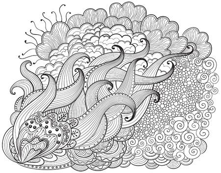 手には、抽象的な zendoodle の背景が描画されます。ベクトル アウトラインは、波状の図面を抽象化します。大人と子供のための塗り絵。ページを着  イラスト・ベクター素材