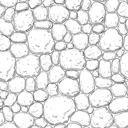 Nahtlose Muster mit Steinen. Vector Hintergrund mit Kiesel auf Gravur-Stil.