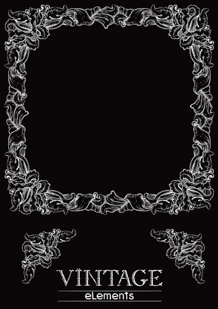 old style retro: Vintage frame. Vector retro  ornate border at old engraving style.