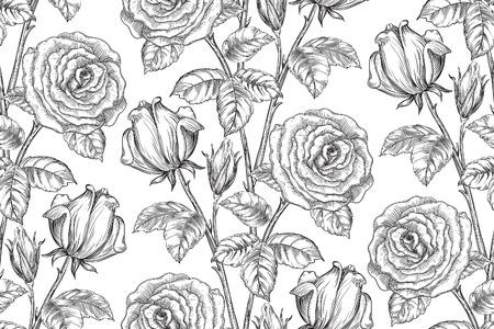 los fondos florales de la vendimia. Vector patrón transparente adornado con rosas y hojas en el estilo de grabado