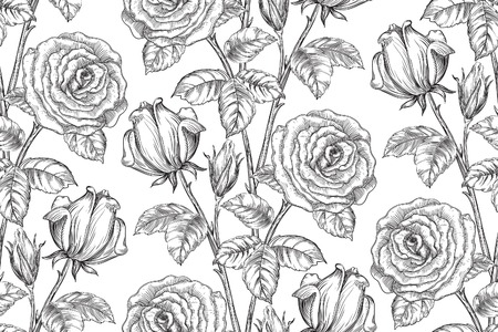 Vintage bloemenachtergronden. Vector overladen naadloos patroon met rozen en bladeren bij gravurestijl