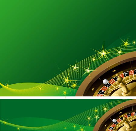 casinos: Casino background and banner. Roulette Wheel on abstract green background with magic sparks Illustration