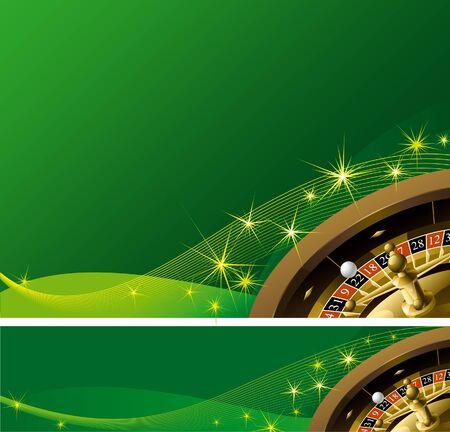 roulette: sfondo Casinò e banner. Ruota della roulette su sfondo verde astratto con scintille di magia Vettoriali