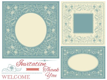 you are welcome: Vintage invitation frames. Banners with floral frames and inscription at retro style