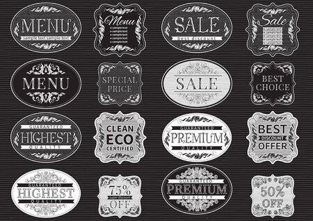 """letreros: etiquetas de la vendimia y la frontera de la vendimia para el """"elemento de diseño"""". fuente manuscrita."""