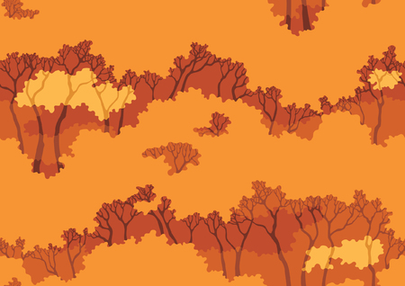 fall trees: Fall wood background. Vector seamless  pattern with autumn  trees