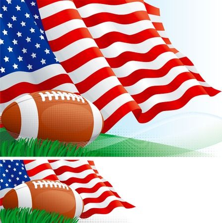 American football. Vector background and banner of american football ball and american flag on green grass.