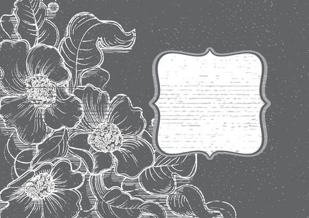 pizarron: flores de tiza marco pizarra. Fondo del vector dibujado a mano de flores