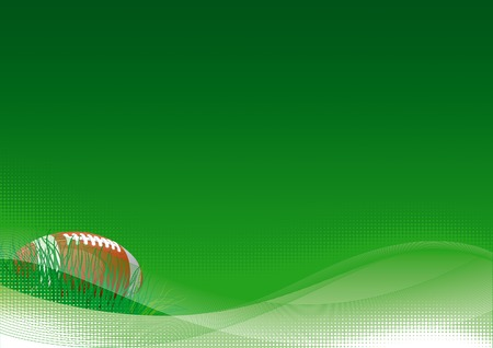American football. Vector background of American football ball with green grass.