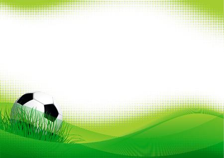 team game: Soccer banner. Vector banner of soccer ball on green grass.