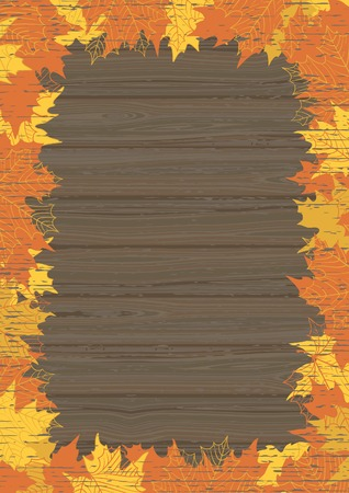 maple leaves: Autumn maple leaves. Vector wood background  with many orange and yellow maple leaves at retro style