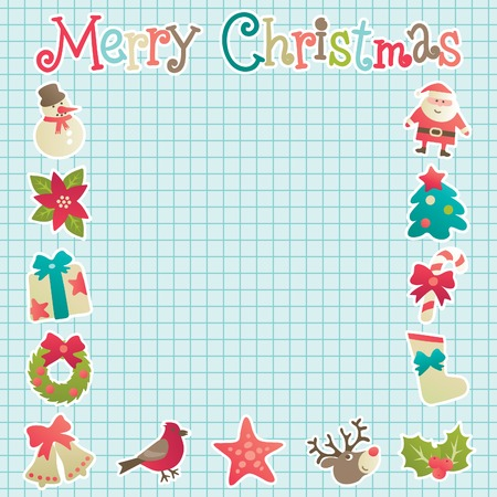 copybook: Christmas frame. Vector background with christmas decorations  on copybook Illustration